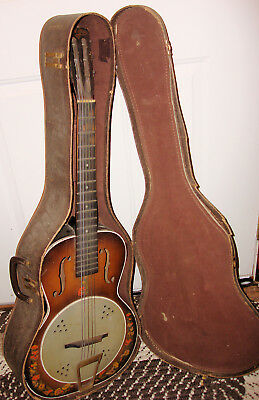 1930's Del Oro Parlor Guitar Faux Resonator Model Made by Kay w/Case  PROJECT