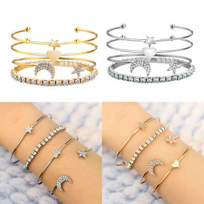 4Pcs Women Fashion Star and Moon Love Heart Bracelet Bangle Chain Jewelry Set