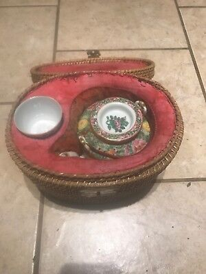 Antique Chinese Rose Medallion Traveling Tea Set with Basket 19th Century