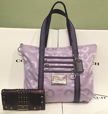 Coach Poppy 14530 Signature Purple Blocked Op Art Glam Tote & Wallet
