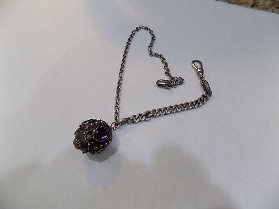 Antique/Vintage Sterling Silver Purple Amethyst Stone Watch Chain Fob Charm