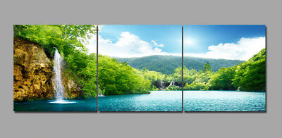 Lake Spring Mountain Waterfall Landscape Painting Canvas Abstract Art Wall Decor