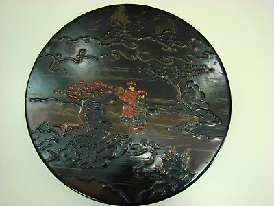 Antique Japanese 3 Sweet Meat 1000 Faces Porcelains In Lacquer Carved Round Box