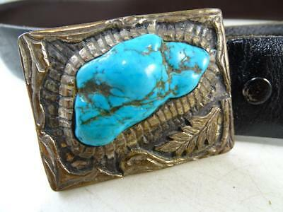 Vtg Coin Silver Large Turquoise Belt Buckle Leather Retro Native American Indian