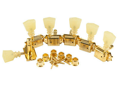 Kluson Traditional 3 + 3 Locking Tuners Sd90Slg Dr/l W/ Pearloid Buttons Gold