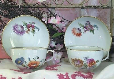 Pair of Floral KPM Neuosier Painted Porcelain Tea Cup and Saucer with Butterfly.