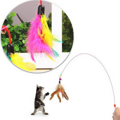 Fun Kitten Toy Cat Feather Bell Wand Teaser Rod Bead Play Pet Ball Game Toy