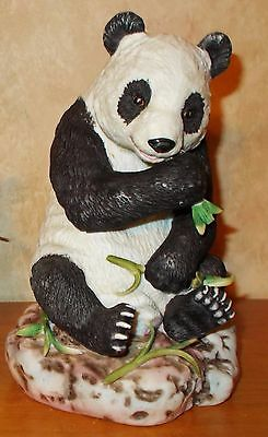 Vintage Lefton Panda Figurine #1695 - Hand Painted - Sitting and Eating Bamboo