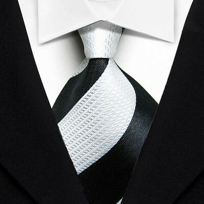 Business Black White Striped New Classic WOVEN Silk JACQUARD Necktie Men's Tie