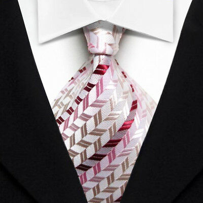 Red Pink Striped Classic WOVEN Silk JACQUARD Casual Wedding Necktie Men's Tie