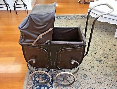 Antique Dolls Prams Wooden Carriage & Metal Undercarriage