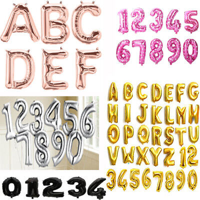 "Gold & Silver 16"" Alphabet Letter Number A-Z Foil Balloons NAME PARTY WEDDING"