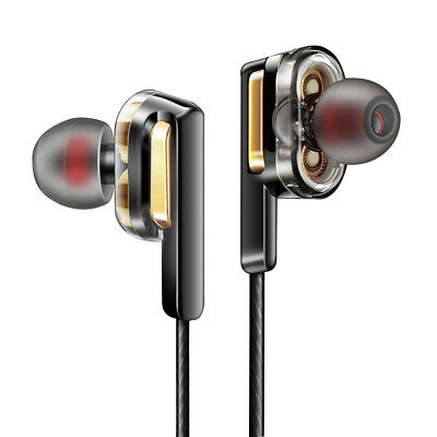 3.5mm In Ear Earphones Dual Dynamic Driver Headphone Monitor Gaming Headset Mic