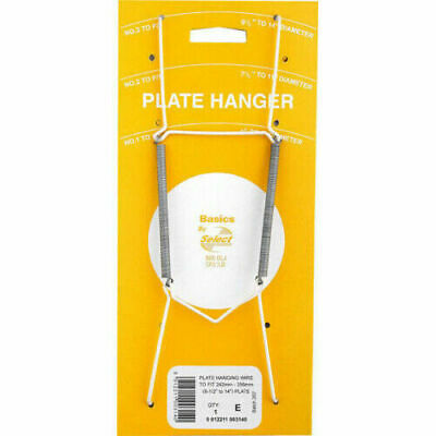 """Wall Display Plate Dish White Wire Spring Hanger Holder Hangers 7.5"""" - 11"""" NEW"""