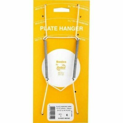 """Wall Display Plate Dish White Wire Spring Hanger Holder Hangers 9.5"""" - 14"""" NEW"""