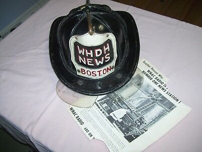 Old Vintage Leather Cairns & Bros Boston Fireman Helmet WHDH NEWS Station