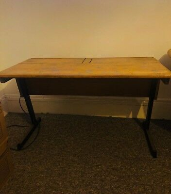 vintage wooden double school desk