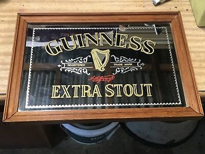 Framed Guiness Extra Stout Mirrored Sign