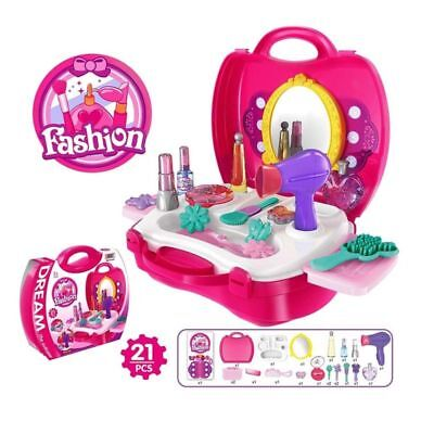 Girls Dressing Table Princess Mirror Sound Pretend Role PlaySet Kids Makeup Toy