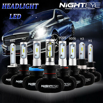 NIGHTEYE H1 H4 H7 H11 9005 9006 Canbus Adapter CSP LED Headlight Bulb 50W 8000LM