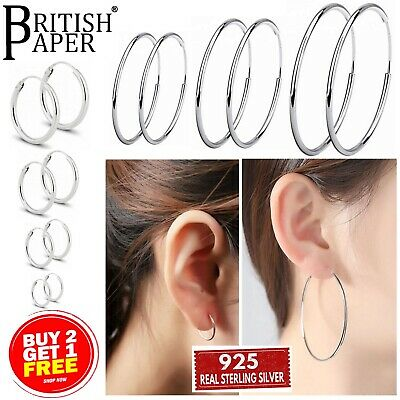 925 STERLING SILVER HOOP SLEEPER EARRINGS SMALL LARGE 8-70 mm NOSE SET BALL RING