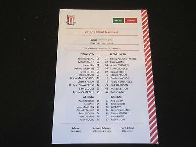2018/19 CHAMPIONSHIP STOKE CITY v LEEDS UNITED  TEAM SHEET