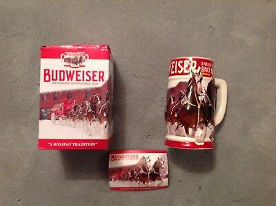 Budweiser 2018 Holiday Stein Annual Christmas Series New in Box Mint Condition