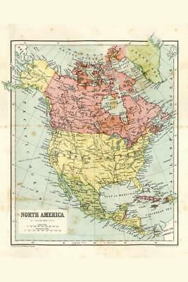 North America 19th Century Antique Style Map Poster 24x36 inch