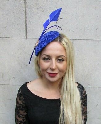 Large Royal Blue Rose Gold Statement Feather Hat Fascinator Headband Races 6872
