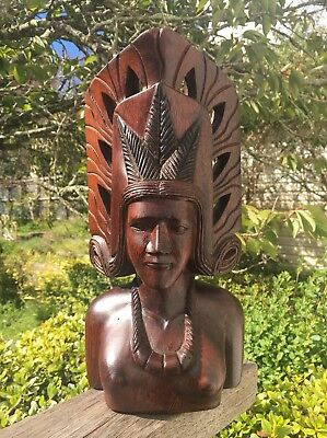 Attractive Tribal Bust Statue Wooden Figurine Carving Indonesian? Polynesian?