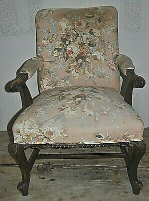 """Vintage Antique Upholstered High Back Chair 35"""" Floor To Top of Back"""