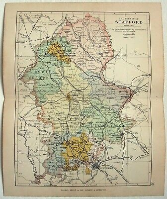 Original 1892 Map of The County of Stafford, England by G. Philip & Son