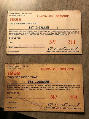 Vintage 1938 and 1939 Union Oil Company California Employee Discount Cards