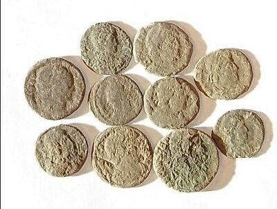 10 ANCIENT ROMAN COINS AE3 - Uncleaned and As Found! - Unique Lot 01121