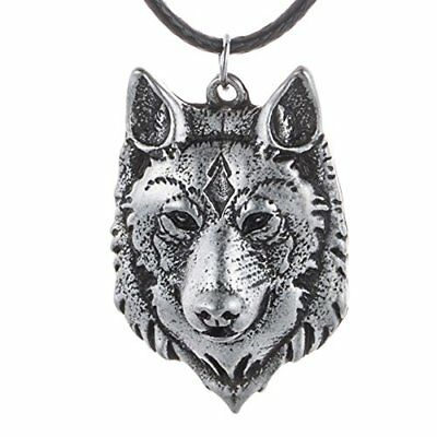 Paw Paw House Mens Norse Wolf Head Necklace Pendant for Dog Lover Men Norse Viki