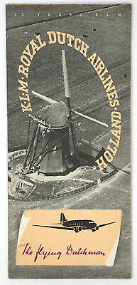 "1939 KLM Royal Dutch Airlines Holland ""The Flying Dutchman"" 20 Years Brochure"