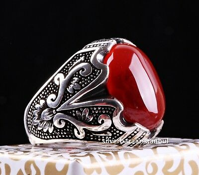Turkish Jewelry 925 Sterling Silver Red Agate Aqeeq Mens Man Ring ALL SİZE 405