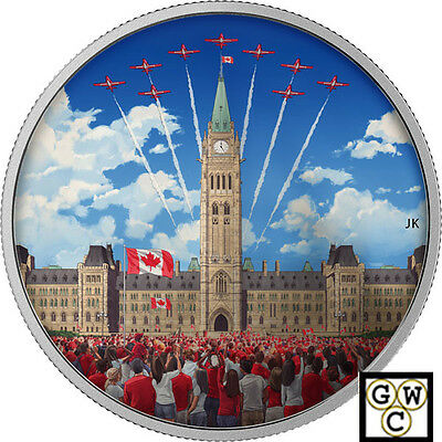 2017Celebrating Canada Day'Photoluminescent Color Prf $30Silver 2oz .9999(18169)