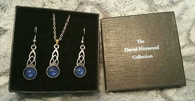 *Pewter Pendant Necklace & Earings*Blue Stone*The Celtic Collection*