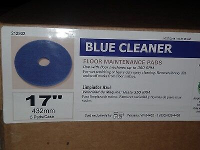 "New Box Of 5 Blue Cleaner 17"" Floor Maintenance Pads Buffer Scrubber Machines"