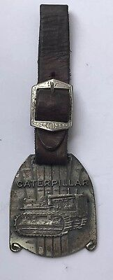 Vintage Caterpillar Heavy Equipment Fob Keychain with leather strap