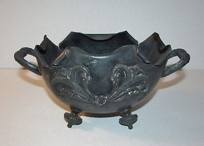 Antique Victorian Quadruple Silver Plate Footed Bowl Scroll Design Rolled Edge