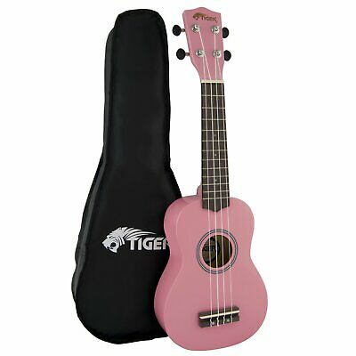 Tiger Beginners Left Handed Soprano Ukulele in Pink with Bag