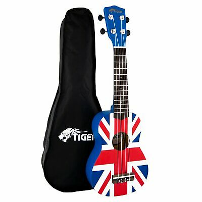 Tiger Beginners Left Handed Soprano Ukulele in Union Jack Design with