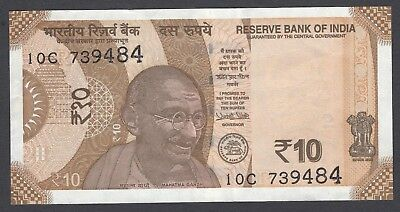 10 India Rupee Bank Note Currency NEW 2017 Date of Issue Gandhi NEW Sun Temple