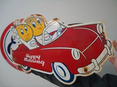 """20"""" X 13"""" Old Used 1959 Esso """"happy Motoring""""  Porcelain Metal Gas Oil Sign!"""