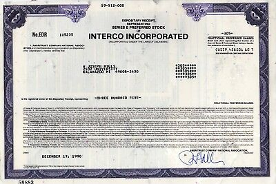 Interco Incorporated of St Louis, MO 1989 Stock Certificate - Furniture-Footwear
