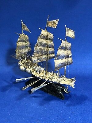 Chinese Export Miniature Sterling Silver Antique Sailing Ship Great Condition