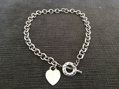 Tiffany & Co. 925 Sterling Silver Heart Tag Charm Toggle Necklace Authentic