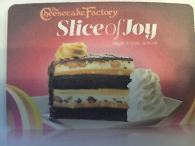 FREE SLICE OF JOY Gift Card The Cheesecake Factory - email delivery